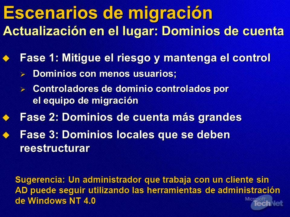Sugerencia: Un administrador que trabaja con un cliente sin AD puede seguir utilizando las herramientas de administración de Windows NT 4.0 Escenarios