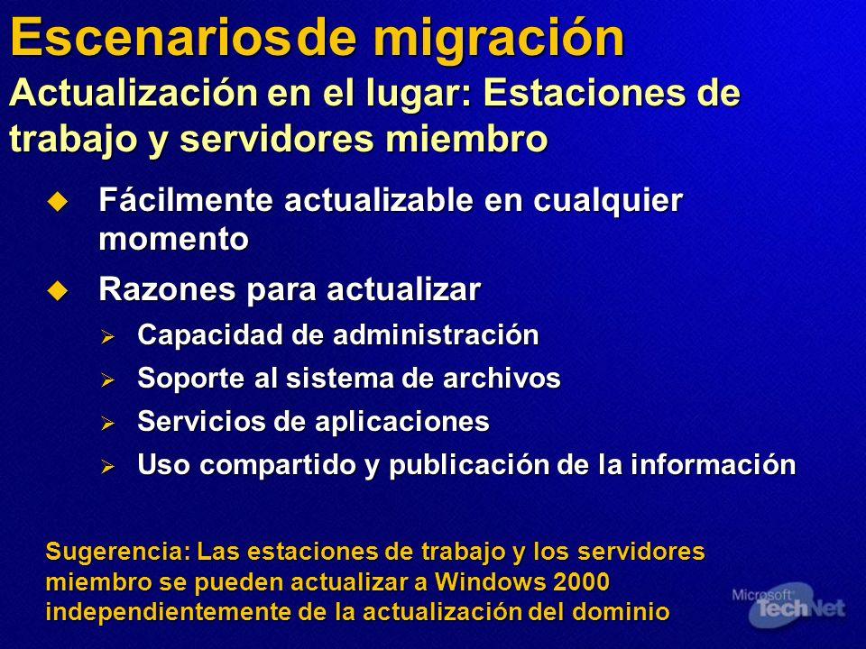 Sugerencia: Las estaciones de trabajo y los servidores miembro se pueden actualizar a Windows 2000 independientemente de la actualización del dominio