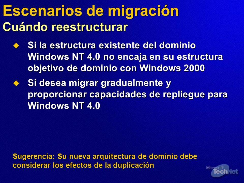 Si la estructura existente del dominio Windows NT 4.0 no encaja en su estructura objetivo de dominio con Windows 2000 Si la estructura existente del d