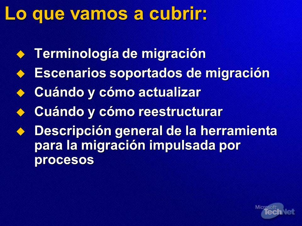 Lo que vamos a cubrir: Terminología de migración Terminología de migración Escenarios soportados de migración Escenarios soportados de migración Cuánd