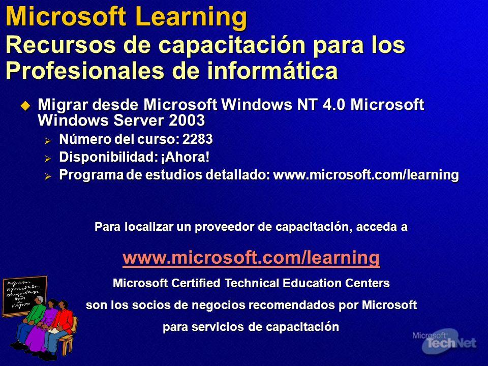 Microsoft Learning Recursos de capacitación para los Profesionales de informática Migrar desde Microsoft Windows NT 4.0 Microsoft Windows Server 2003