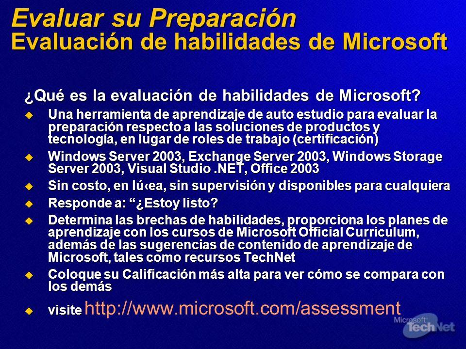 Evaluar su Preparación Evaluación de habilidades de Microsoft ¿Qué es la evaluación de habilidades de Microsoft? Una herramienta de aprendizaje de aut