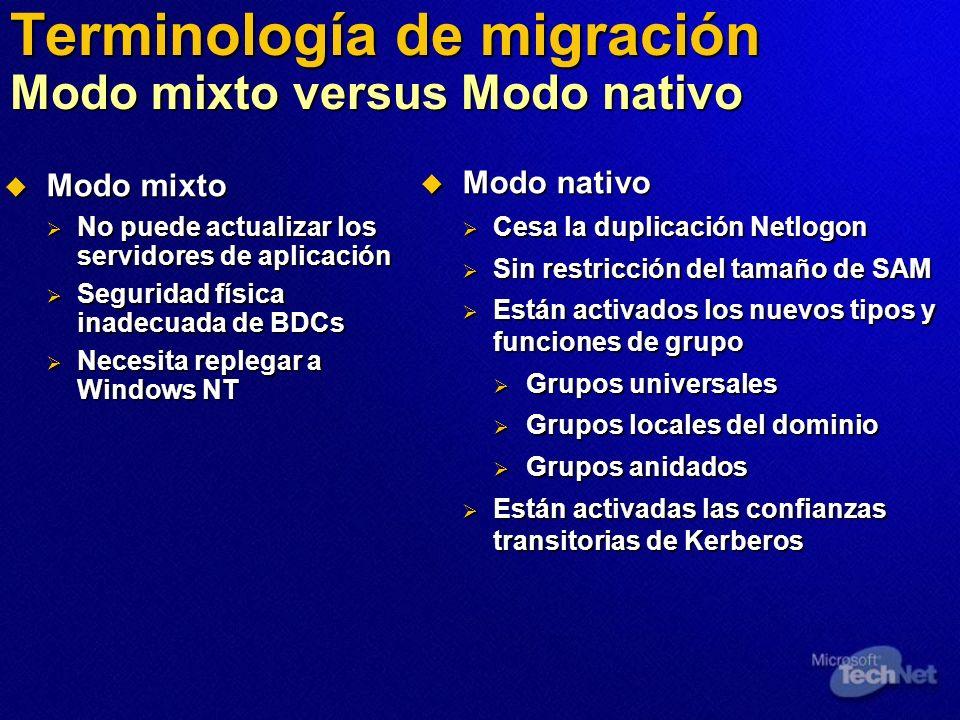 Terminología de migración Modo mixto versus Modo nativo Modo mixto Modo mixto No puede actualizar los servidores de aplicación No puede actualizar los