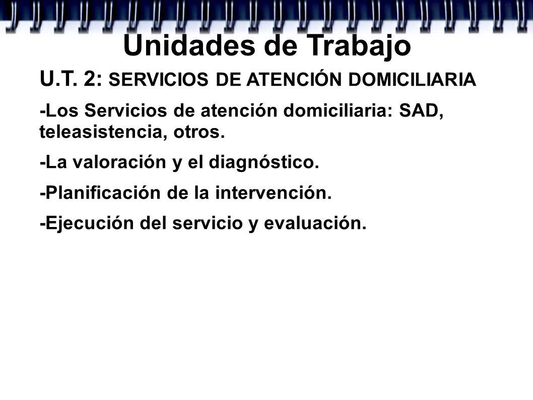 Unidades de Trabajo U.T. 2: SERVICIOS DE ATENCIÓN DOMICILIARIA -Los Servicios de atención domiciliaria: SAD, teleasistencia, otros. -La valoración y e