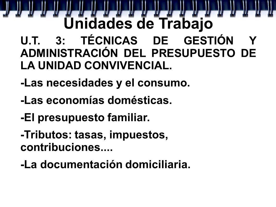 Unidades de Trabajo U.T. 3: TÉCNICAS DE GESTIÓN Y ADMINISTRACIÓN DEL PRESUPUESTO DE LA UNIDAD CONVIVENCIAL. -Las necesidades y el consumo. -Las econom