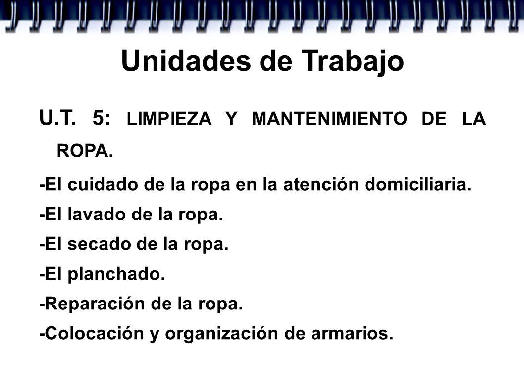 Unidades de Trabajo U.T. 5: LIMPIEZA Y MANTENIMIENTO DE LA ROPA. -El cuidado de la ropa en la atención domiciliaria. -El lavado de la ropa. -El secado