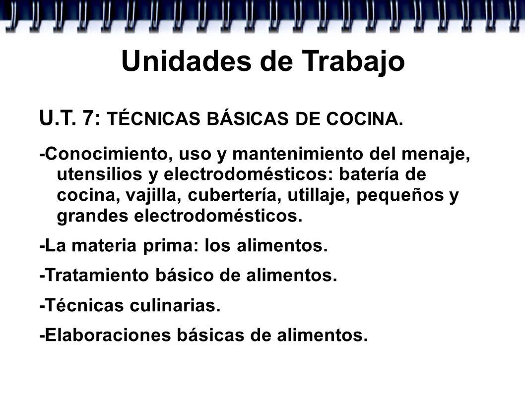 Unidades de Trabajo U.T. 7: TÉCNICAS BÁSICAS DE COCINA. -Conocimiento, uso y mantenimiento del menaje, utensilios y electrodomésticos: batería de coci