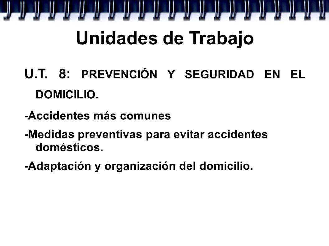 Unidades de Trabajo U.T. 8: PREVENCIÓN Y SEGURIDAD EN EL DOMICILIO. -Accidentes más comunes -Medidas preventivas para evitar accidentes domésticos. -A