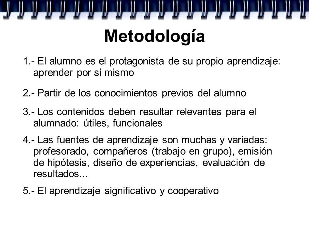 Metodología 1.- El alumno es el protagonista de su propio aprendizaje: aprender por si mismo 2.- Partir de los conocimientos previos del alumno 3.- Lo