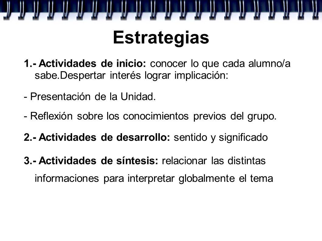 Estrategias 1.- Actividades de inicio: conocer lo que cada alumno/a sabe.Despertar interés lograr implicación: - Presentación de la Unidad. - Reflexió