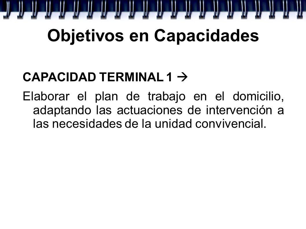 Objetivos en Capacidades CAPACIDAD TERMINAL 1 Elaborar el plan de trabajo en el domicilio, adaptando las actuaciones de intervención a las necesidades