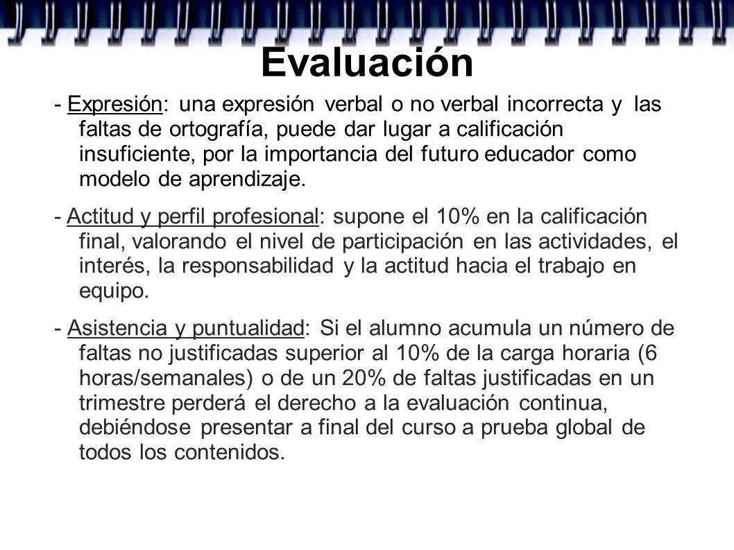 Evaluación - Expresión: una expresión verbal o no verbal incorrecta y las faltas de ortografía, puede dar lugar a calificación insuficiente, por la im
