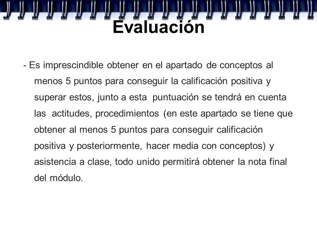 Evaluación - Es imprescindible obtener en el apartado de conceptos al menos 5 puntos para conseguir la calificación positiva y superar estos, junto a