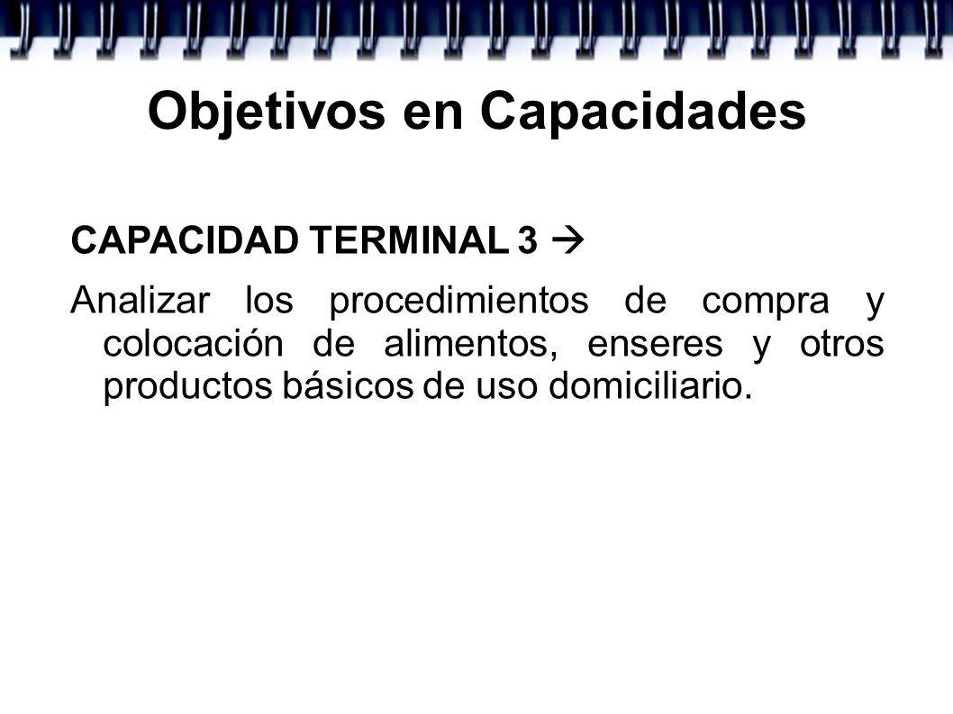 Objetivos en Capacidades CAPACIDAD TERMINAL 3 Analizar los procedimientos de compra y colocación de alimentos, enseres y otros productos básicos de us