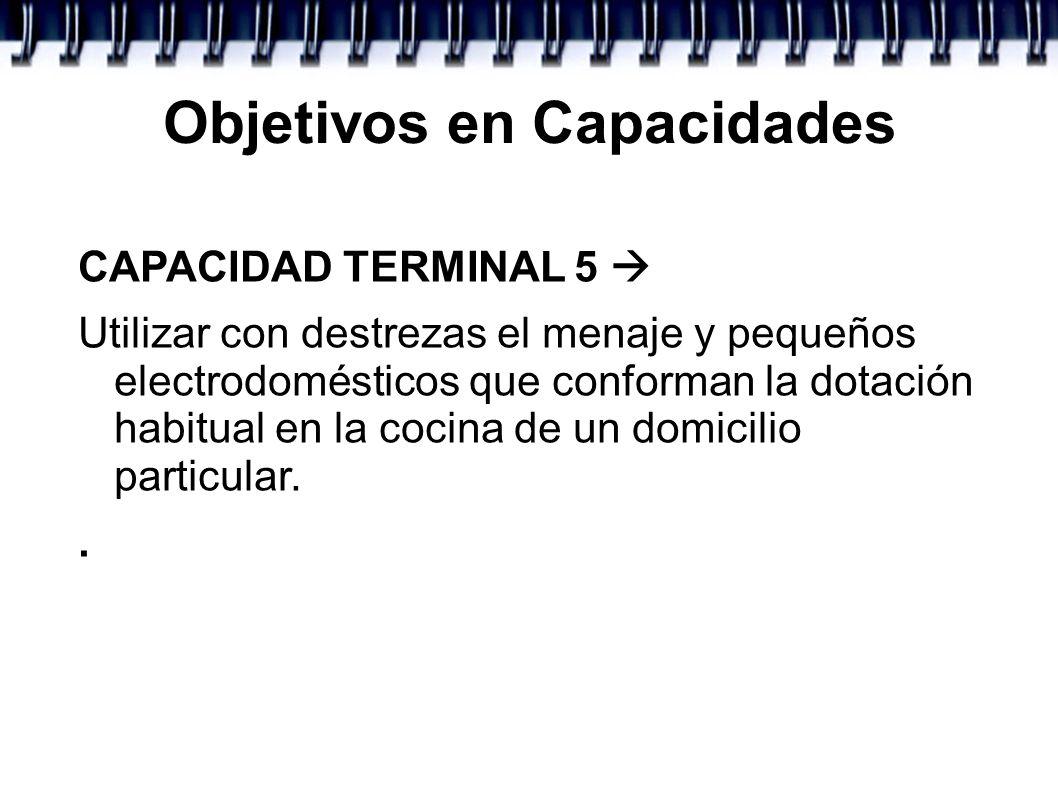 Objetivos en Capacidades CAPACIDAD TERMINAL 5 Utilizar con destrezas el menaje y pequeños electrodomésticos que conforman la dotación habitual en la c