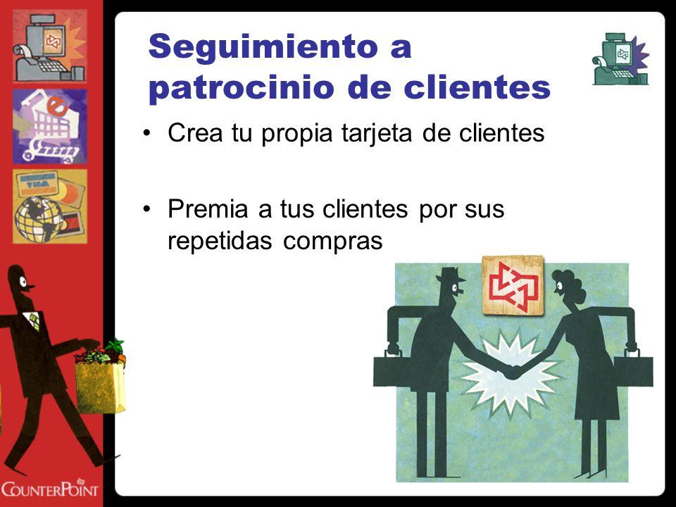 Seguimiento a patrocinio de clientes Crea tu propia tarjeta de clientes Premia a tus clientes por sus repetidas compras