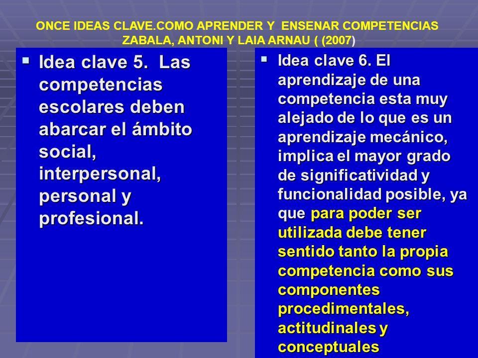 Idea clave 5. Las competencias escolares deben abarcar el ámbito social, interpersonal, personal y profesional. Idea clave 5. Las competencias escolar