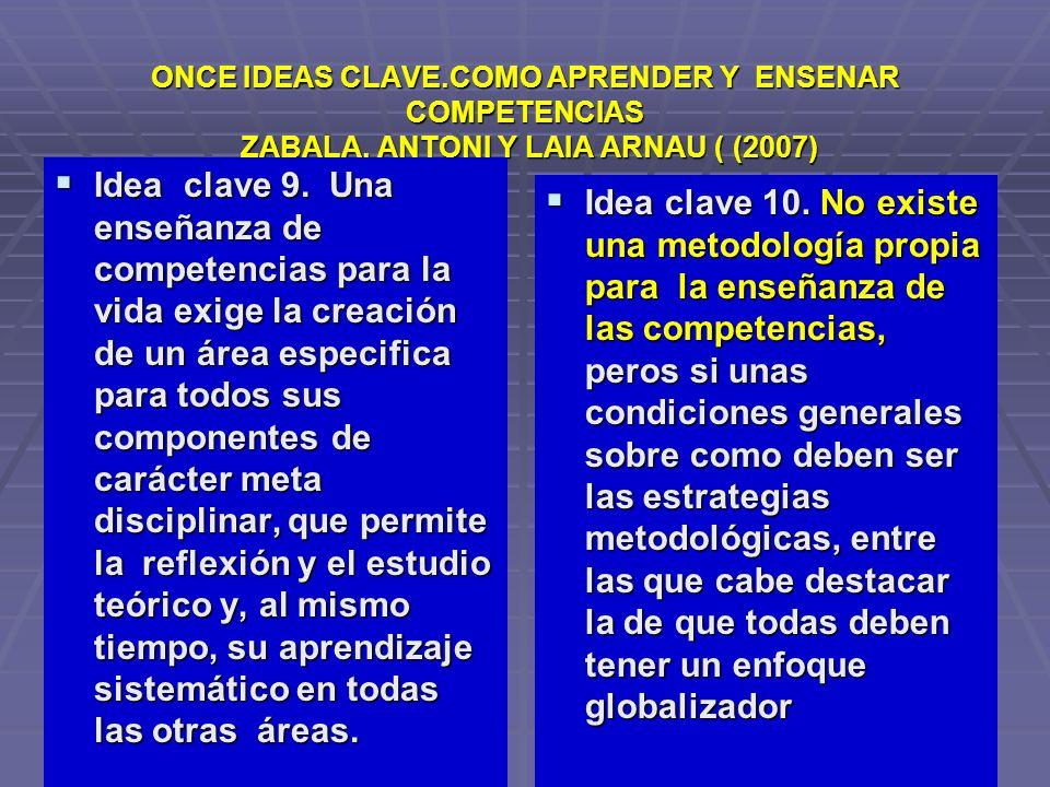 ONCE IDEAS CLAVE.COMO APRENDER Y ENSENAR COMPETENCIAS ZABALA, ANTONI Y LAIA ARNAU ( (2007) Idea clave 9. Una enseñanza de competencias para la vida ex