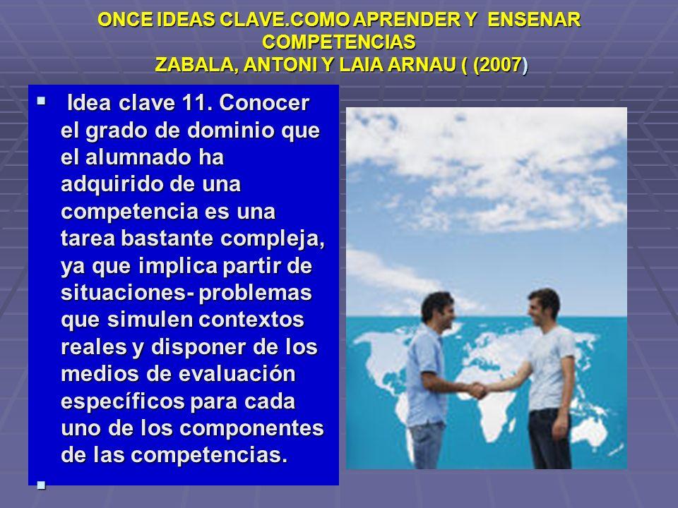 ONCE IDEAS CLAVE.COMO APRENDER Y ENSENAR COMPETENCIAS ZABALA, ANTONI Y LAIA ARNAU ( (2007) Idea clave 11. Conocer el grado de dominio que el alumnado