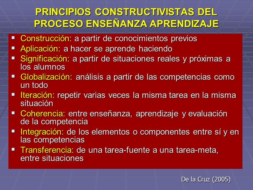 PRINCIPIOS CONSTRUCTIVISTAS DEL PROCESO ENSEÑANZA APRENDIZAJE PRINCIPIOS CONSTRUCTIVISTAS DEL PROCESO ENSEÑANZA APRENDIZAJE Construcción: a partir de