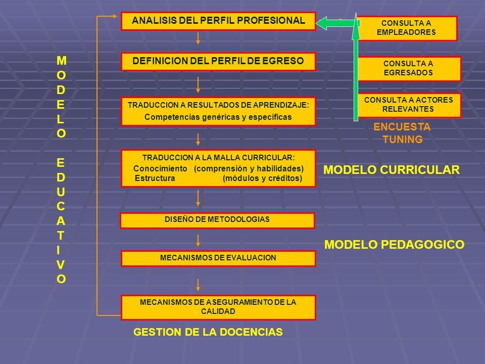 TRADUCCION A RESULTADOS DE APRENDIZAJE : Competencias genéricas y específicas DEFINICION DEL PERFIL DE EGRESO ANALISIS DEL PERFIL PROFESIONAL TRADUCCI