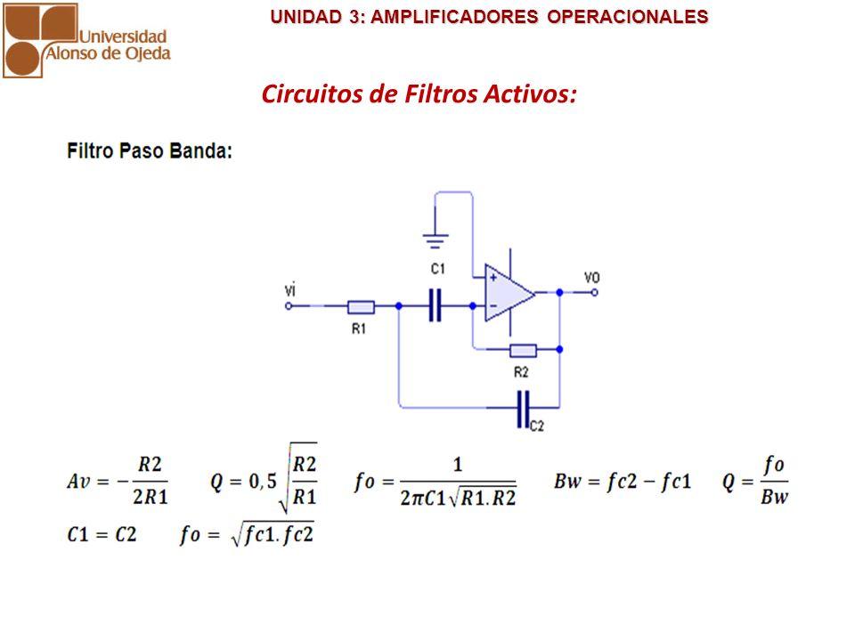UNIDAD 3: AMPLIFICADORES OPERACIONALES UNIDAD 3: AMPLIFICADORES OPERACIONALES Circuitos de Filtros Activos: