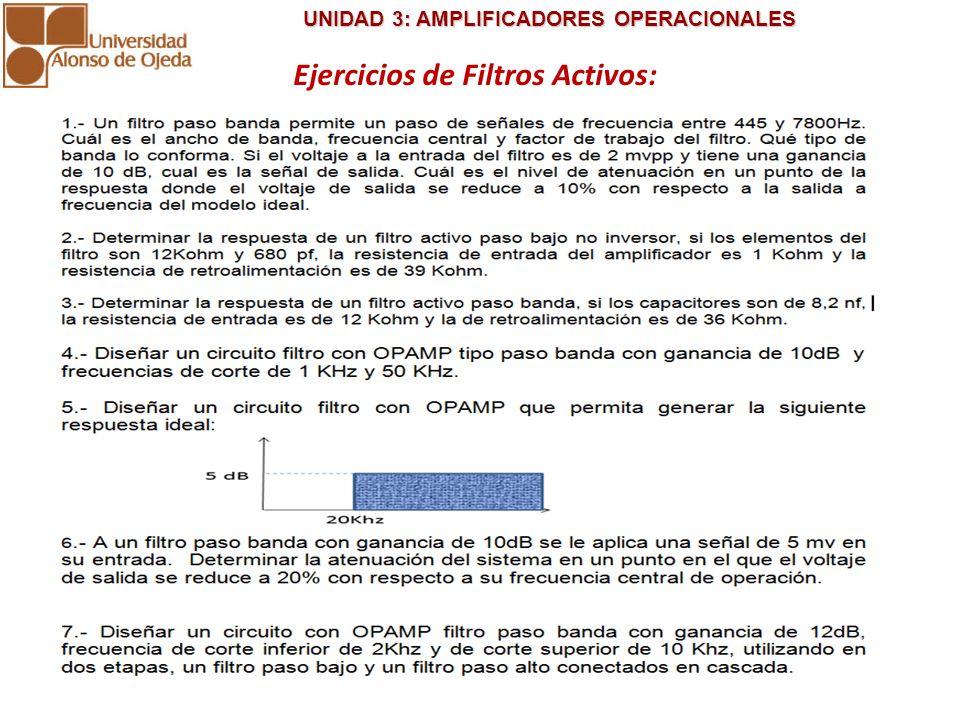 UNIDAD 3: AMPLIFICADORES OPERACIONALES UNIDAD 3: AMPLIFICADORES OPERACIONALES Ejercicios de Filtros Activos: