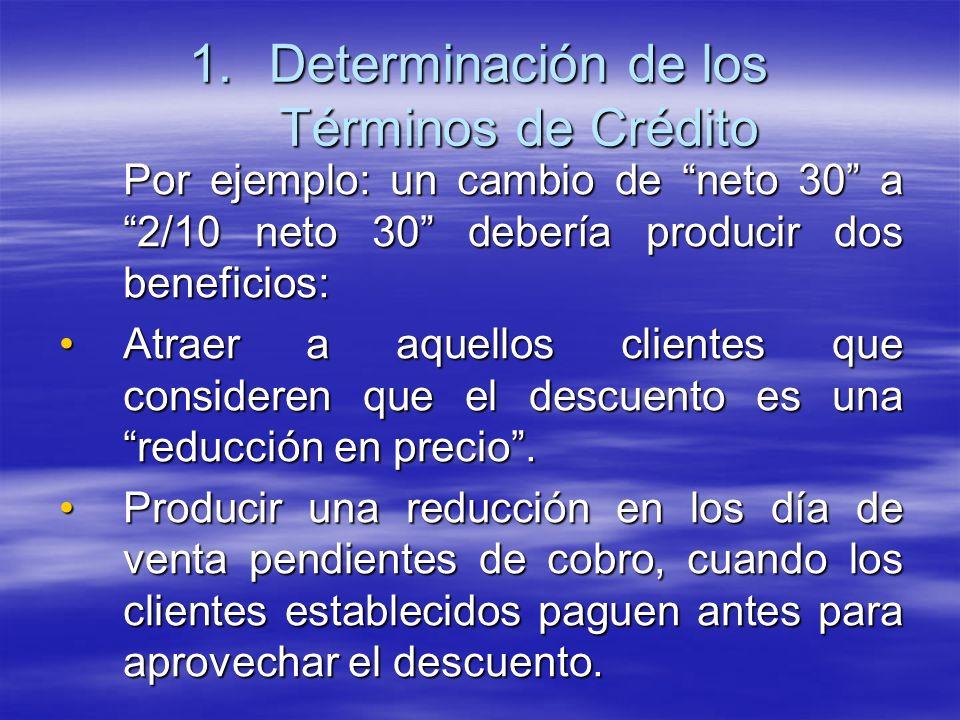 Por ejemplo: un cambio de neto 30 a 2/10 neto 30 debería producir dos beneficios: Atraer a aquellos clientes que consideren que el descuento es una re
