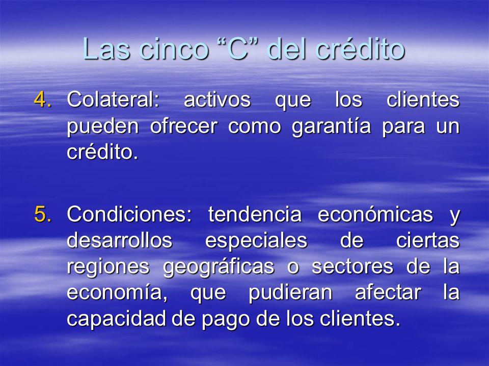 4.Colateral: activos que los clientes pueden ofrecer como garantía para un crédito. 5.Condiciones: tendencia económicas y desarrollos especiales de ci