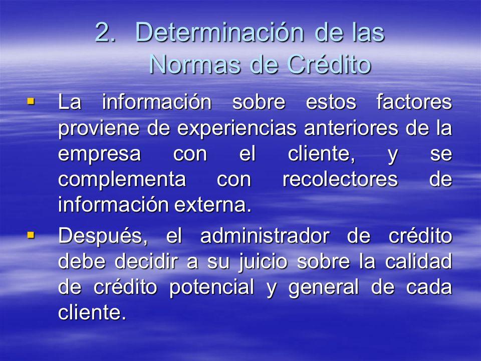 La información sobre estos factores proviene de experiencias anteriores de la empresa con el cliente, y se complementa con recolectores de información