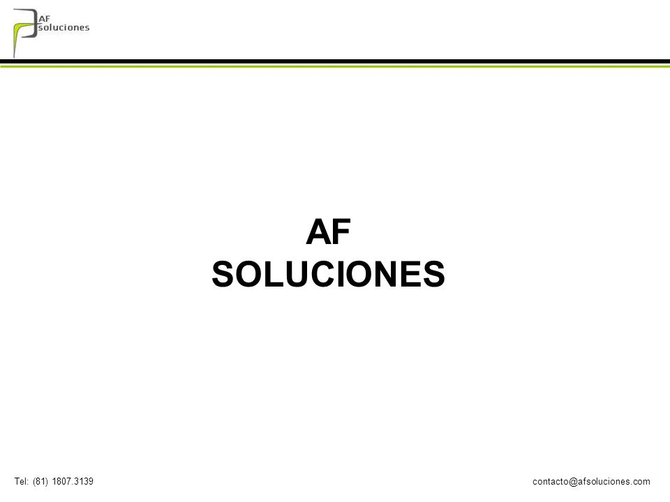 contacto@afsoluciones.comTel: (81) 1807.3139 AF SOLUCIONES somos una empresa en expansión cuya misión consiste en ser un agente clave en el éxito de la implementación de proyectos de sistemas, al propiciar un cambio inteligente en desarrollo a la medida de software en nuestros clientes.