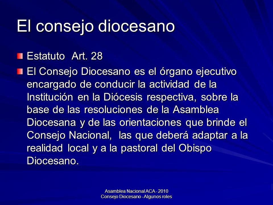 Asamblea Nacional ACA - 2010 Consejo Diocesano - Algunos roles El consejo diocesano Estatuto Art.