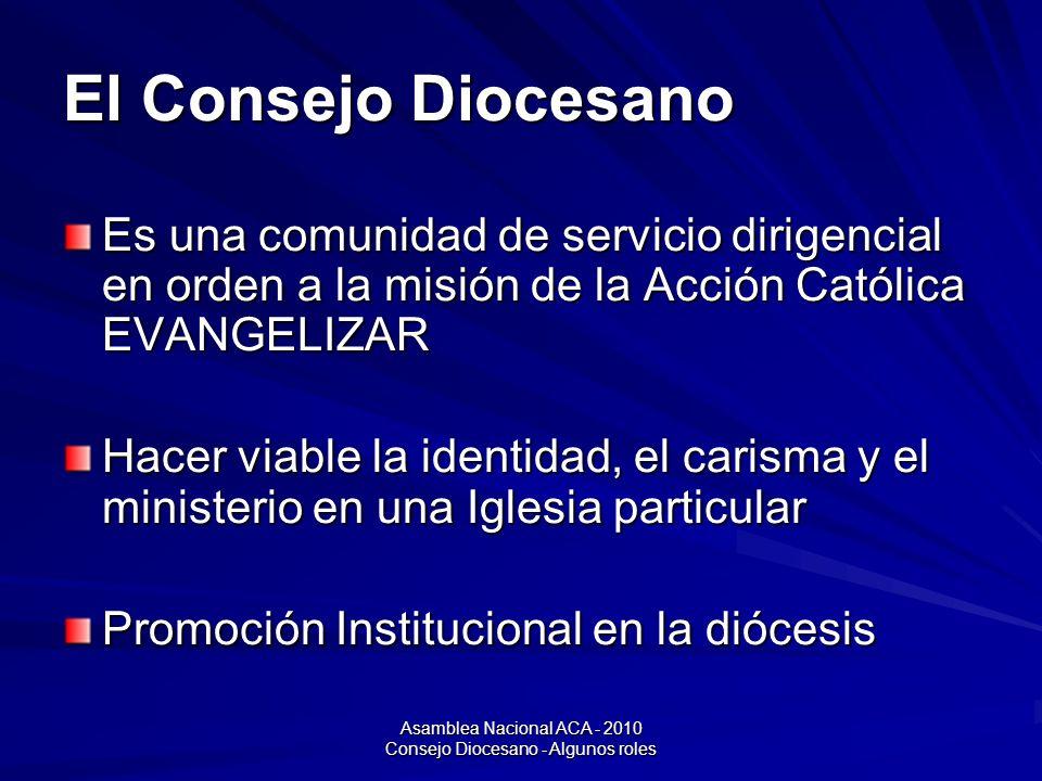 Asamblea Nacional ACA - 2010 Consejo Diocesano - Algunos roles El Consejo Diocesano Es una comunidad de servicio dirigencial en orden a la misión de la Acción Católica EVANGELIZAR Hacer viable la identidad, el carisma y el ministerio en una Iglesia particular Promoción Institucional en la diócesis