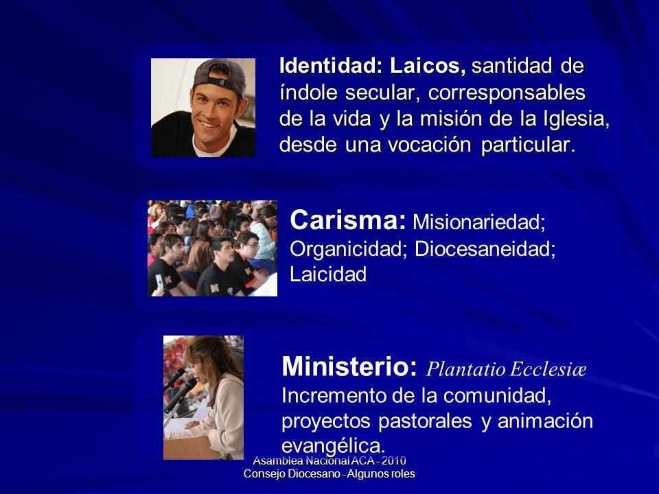 Asamblea Nacional ACA - 2010 Consejo Diocesano - Algunos roles Identidad: Laicos, santidad de índole secular, corresponsables de la vida y la misión de la Iglesia, desde una vocación particular.