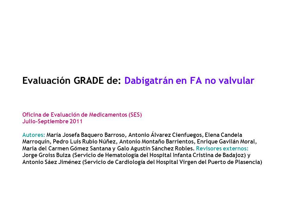 Evaluación GRADE de: Dabigatrán en FA no valvular Oficina de Evaluación de Medicamentos (SES) Julio-Septiembre 2011 Autores: María Josefa Baquero Barr
