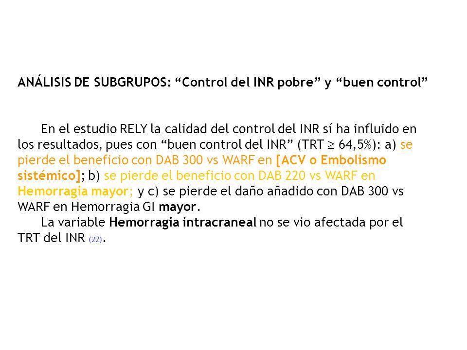 ANÁLISIS DE SUBGRUPOS: Control del INR pobre y buen control En el estudio RELY la calidad del control del INR sí ha influido en los resultados, pues c