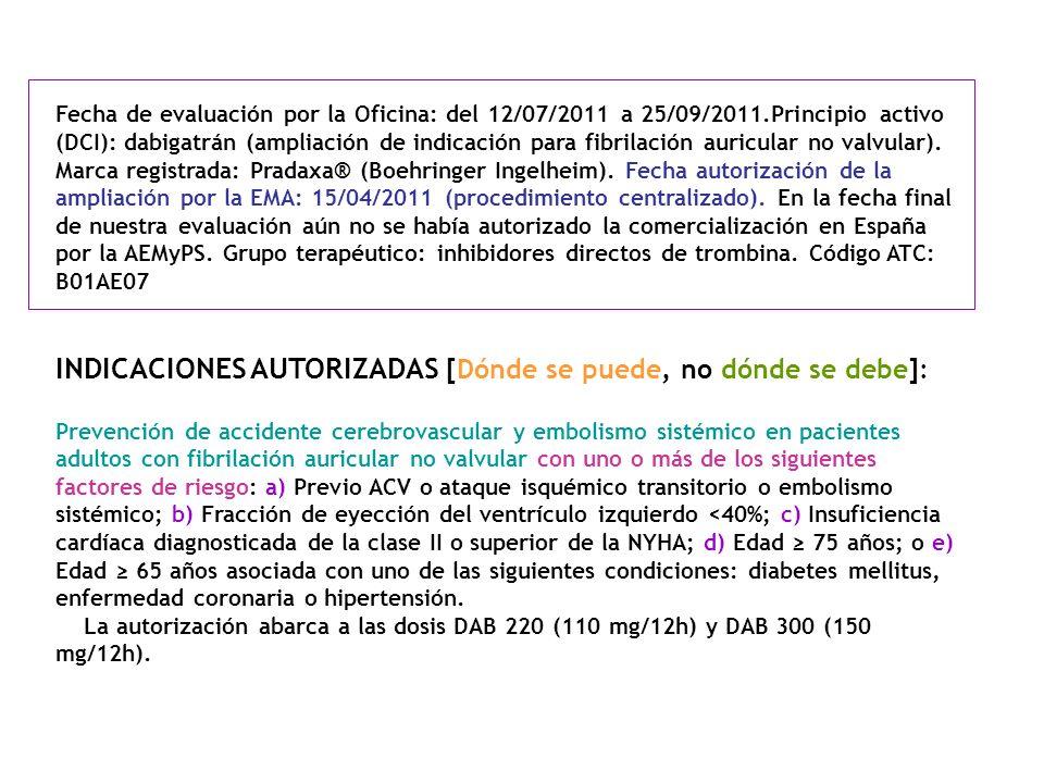 Fecha de evaluación por la Oficina: del 12/07/2011 a 25/09/2011.Principio activo (DCI): dabigatrán (ampliación de indicación para fibrilación auricula