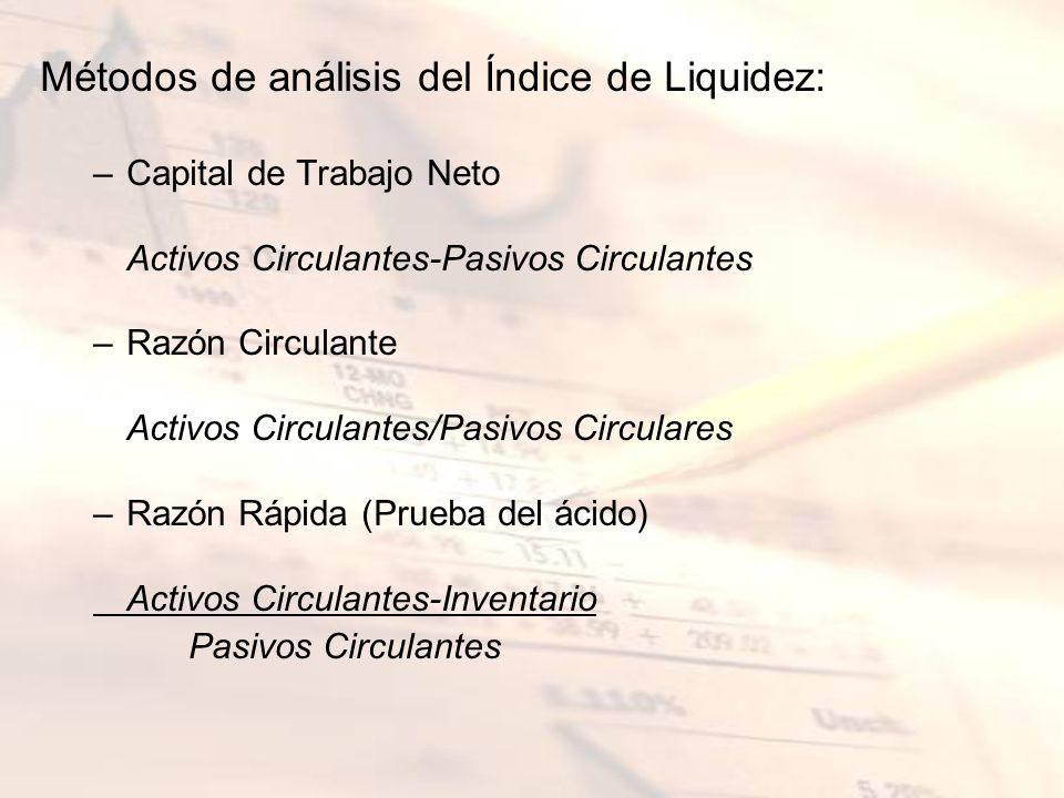 Métodos de análisis del Índice de Liquidez: –Capital de Trabajo Neto Activos Circulantes-Pasivos Circulantes –Razón Circulante Activos Circulantes/Pas