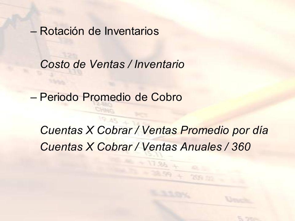 –Rotación de Inventarios Costo de Ventas / Inventario –Periodo Promedio de Cobro Cuentas X Cobrar / Ventas Promedio por día Cuentas X Cobrar / Ventas
