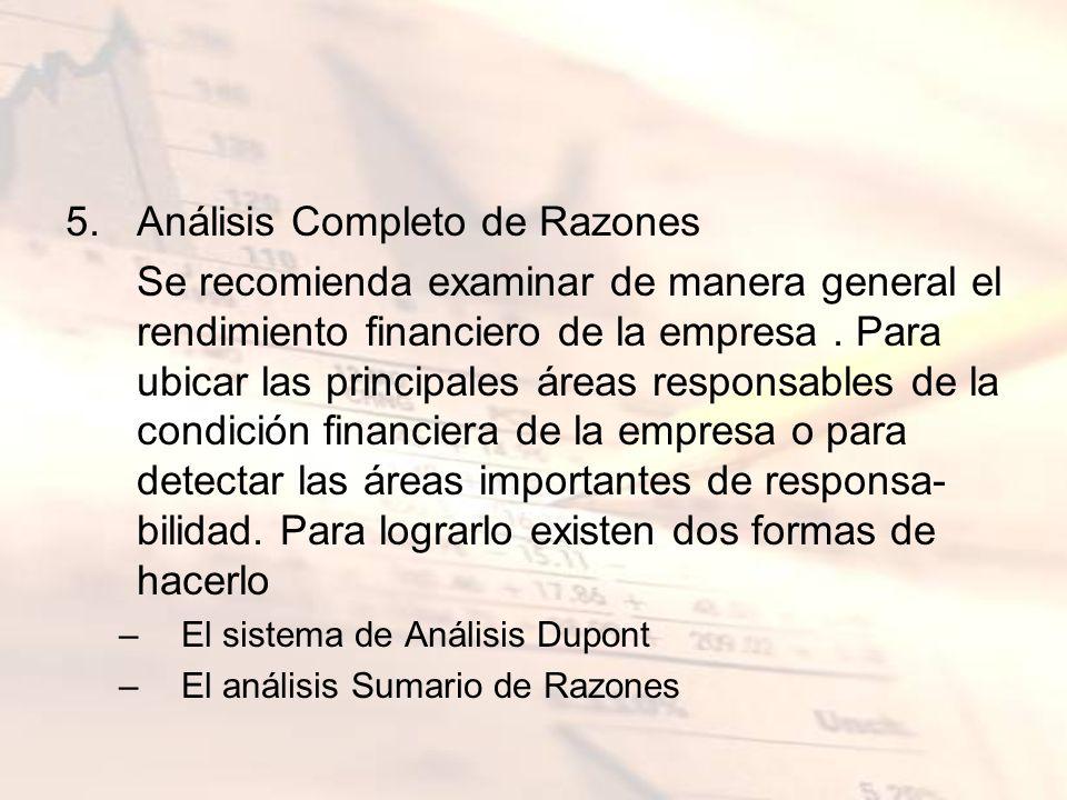 5.Análisis Completo de Razones Se recomienda examinar de manera general el rendimiento financiero de la empresa. Para ubicar las principales áreas res