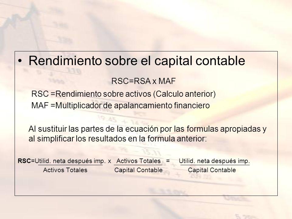 Rendimiento sobre el capital contable RSC=RSA x MAF RSC =Rendimiento sobre activos (Calculo anterior) MAF =Multiplicador de apalancamiento financiero