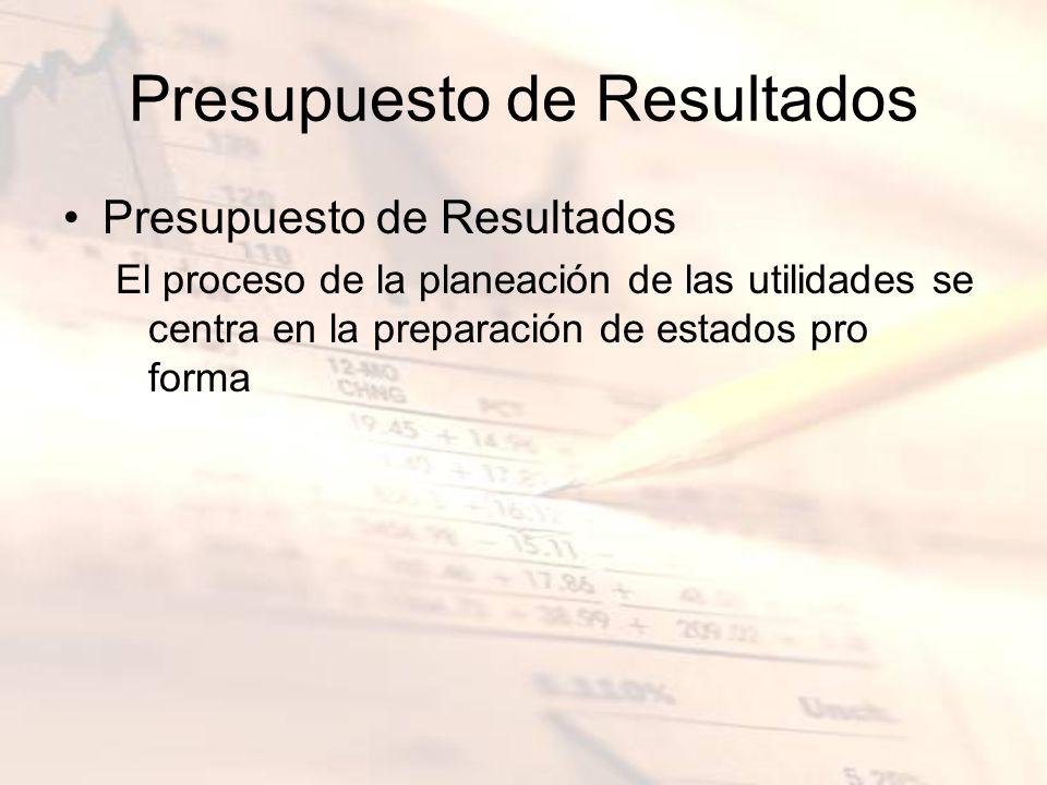 Presupuesto de Resultados El proceso de la planeación de las utilidades se centra en la preparación de estados pro forma