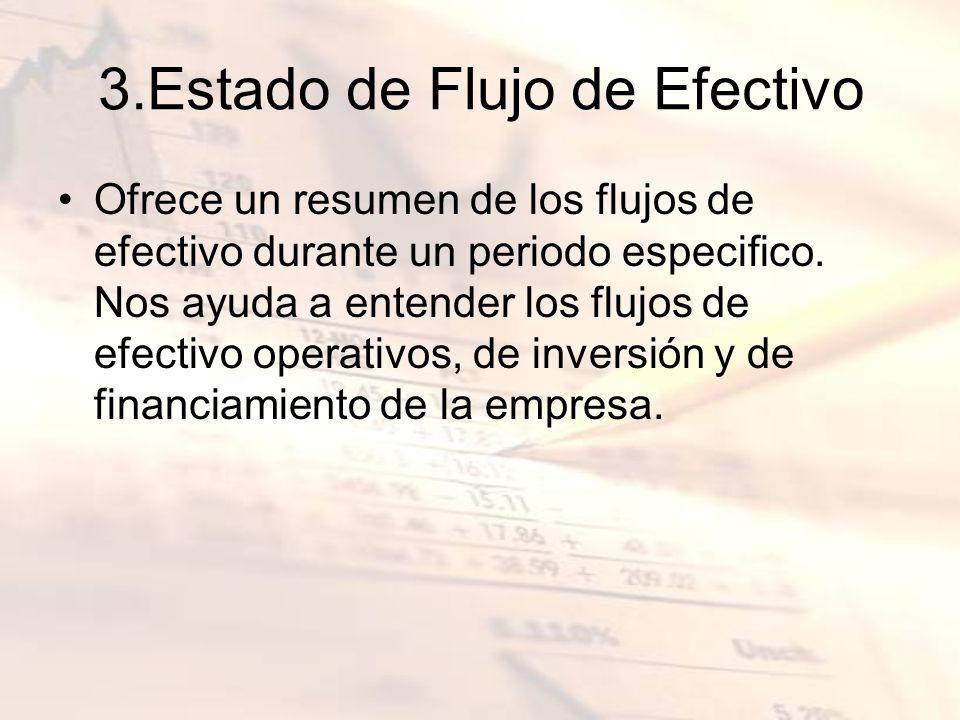 3.Estado de Flujo de Efectivo Ofrece un resumen de los flujos de efectivo durante un periodo especifico. Nos ayuda a entender los flujos de efectivo o
