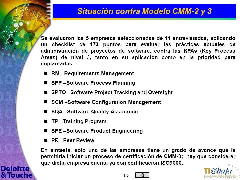 112 Situación contra Modelo CMM-2 y 3 Previo al análisis de situación actual contra modelo CMM y para una mejor comprensión de las diferencias entre d