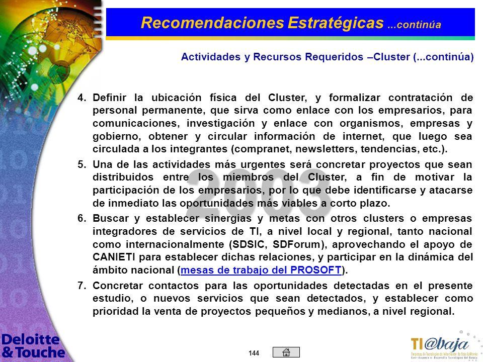 143 2003 Actividades y Recursos Requeridos –Cluster Por otro lado, existen varias actividades que deberán ser realizadas a nivel general por el Cluste