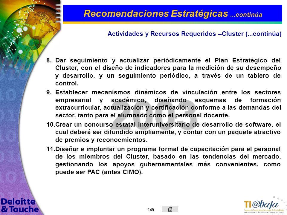 144 2003 4. 4.Definir la ubicación física del Cluster, y formalizar contratación de personal permanente, que sirva como enlace con los empresarios, pa