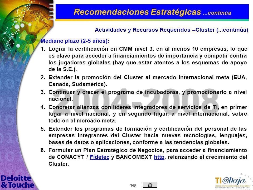 147 2003 15. 15.Ofrecer periódicamente eventos y cursos en la región sobre TI, e- business, m-business, CRM, SCM, etc., a fin de comenzar a posicionar