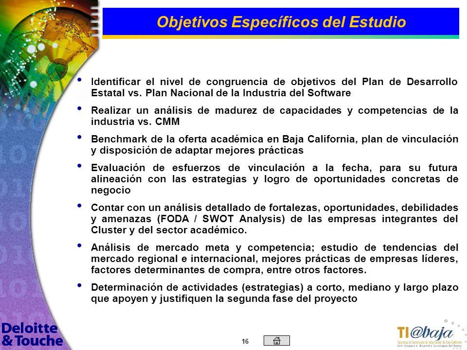 15 Objetivo General del Estudio Contar con una evaluación profunda de la situación del sector de tecnologías de información del estado de Baja Califor
