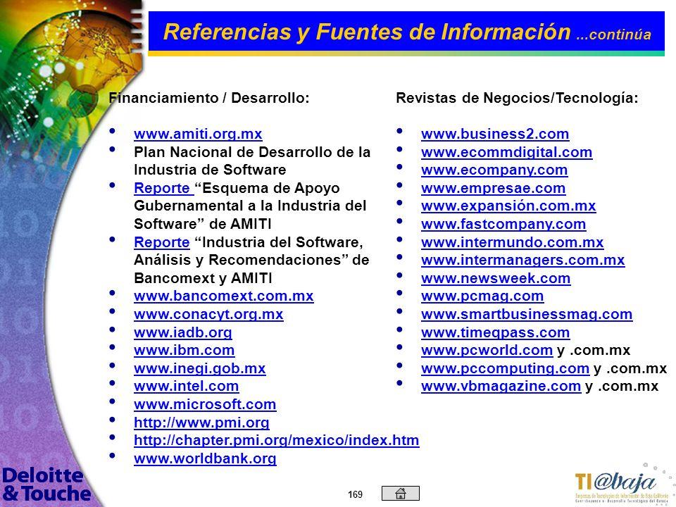 168 Información sobre TI: www.best-in-class.com www.betanews.com www.consultingcentral.com www.cnetnews.com www.dc.com www.desarrolladores.com.mx www.
