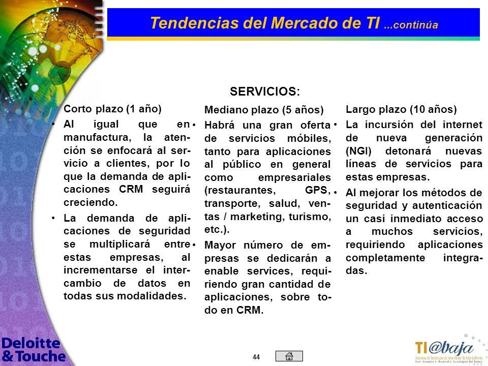 43 Corto plazo (1 año) Continuará la demanda por servicios de aplicaciones colaborati- vas (SCM), integrando a proveedores y clientes con la Empresa.